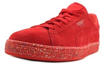 Puma Suede Classic Multi Splatter Men Round Toe Suede Red Sneakers.