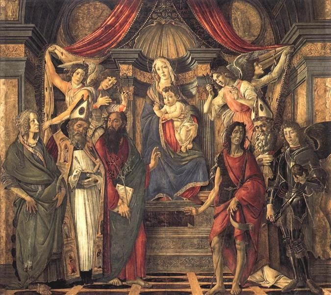 Virgin+and+Child+with+Saints+from+the+Altarpiece+of+San+Barnabas,+1488+-+Sandro+Botticelli