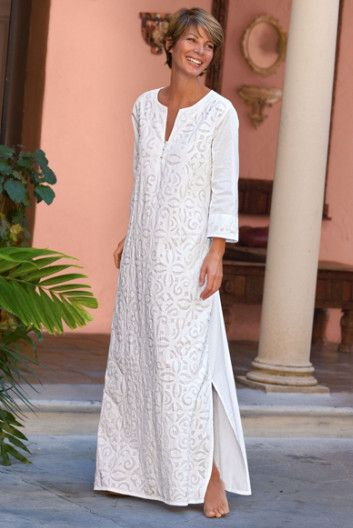 Contadora Caftan - Cotton Caftan, Caftan, Side Slits | Soft Surroundings