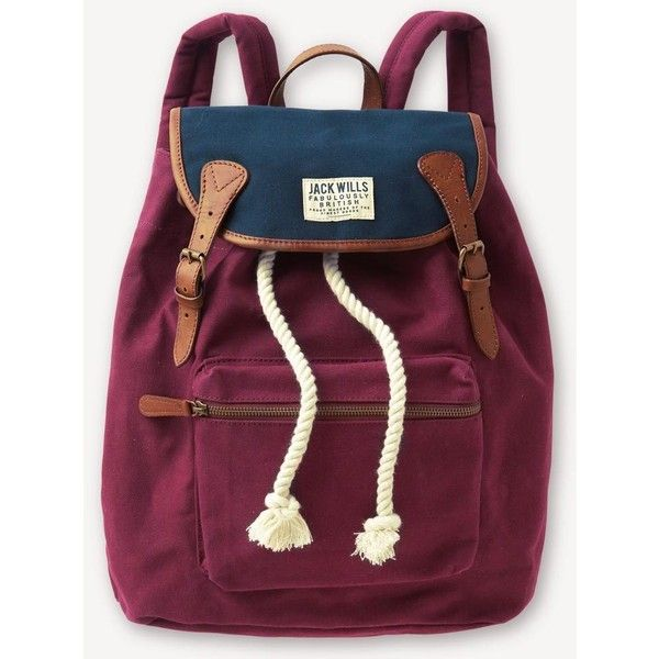 Jack Wills Penrose Backpack ($49) found on Polyvore featuring bags, backpacks, accessories, sacs, jack wills bag, purple backpack, print bags, purple bag and knapsack bags