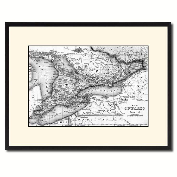 Ontario Canada Vintage B&W Map Canvas Print, Picture Frame Home Decor Wall Art Gift Ideas