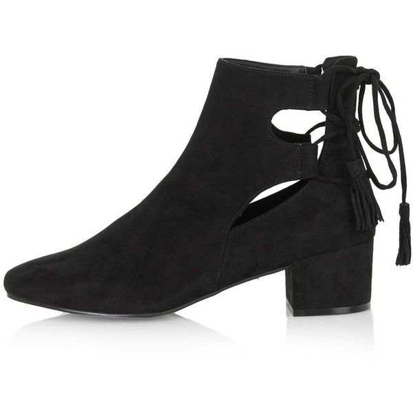 TOPSHOP KIMBLE Back Ghillie Shoe Boots ($65) ❤ liked on Polyvore featuring shoes, boots, ankle booties, black, topshop boots, black cutout booties, cut-out boots, cut out booties and cutout booties