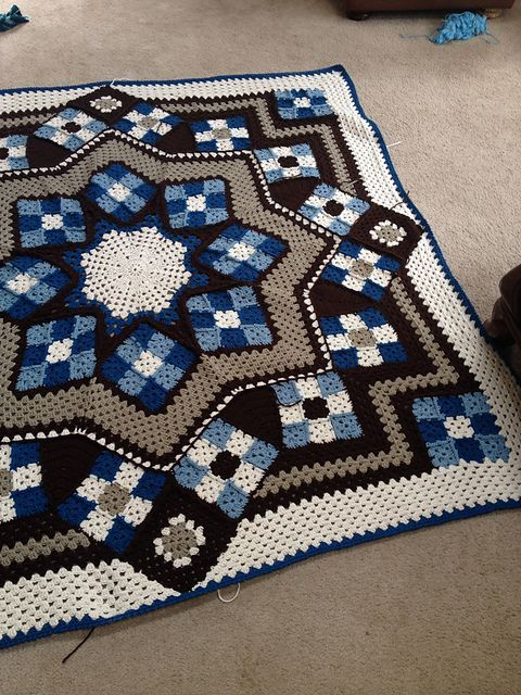 This must be the most beautiful pattern I've seen so far!  Blue Star afghan - Free Pattern on RAVELRY website.