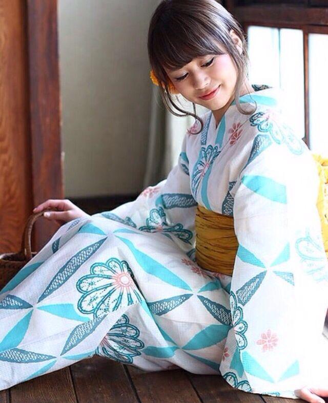 Yukata 浴衣 白 青