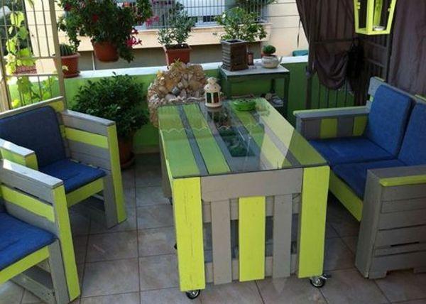 Garten Gestaltung Mit Möbeln Aus Europaletten   Grün Und Blau   Gartenmöbel  Aus Paletten U2013 30