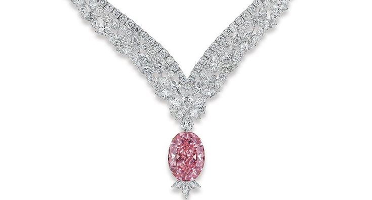 The 30.03-carat Juliet Pink Diamond is a fancy intense, VVS2 stone that's been cut into an oval shape. It is a set into a necklace with 98.70 carats of marquise, pear and round-cut white diamonds that are E to F in color and VVS clarity.
