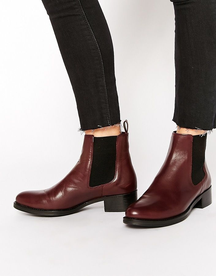 $171, Dune Peppie Burgundy Leather Flat Chelsea Boots. Sold by Asos. Click for more info: https://lookastic.com/women/shop_items/355679/redirect