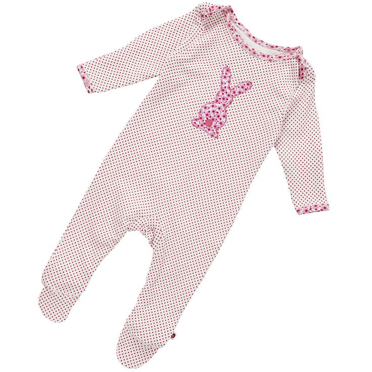 This lovely bunny appliqué footed onesie is beautifully finished with contrast printed trims and made from perfectly soft organic cotton