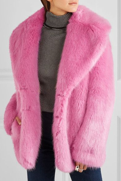Pink faux fur Concealed hook fastening at front 61% modacrylic, 26% acrylic, 13% polyester; lining: 50% polyester, 50% viscose Dry clean Designer color: Hibiscus Imported