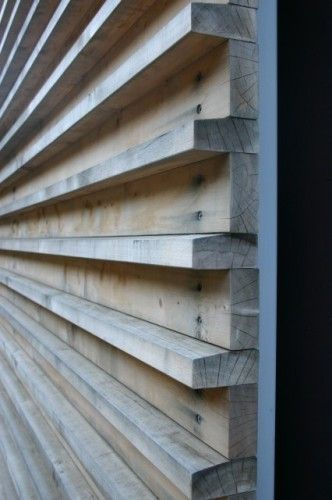 Wood Detail | Fougeron Architecture These wood slats are utilitarian in the way they are connected to the substrate — countersunk screws — but note the care in angling the top of the projecting pieces, so water sheds off the wood.