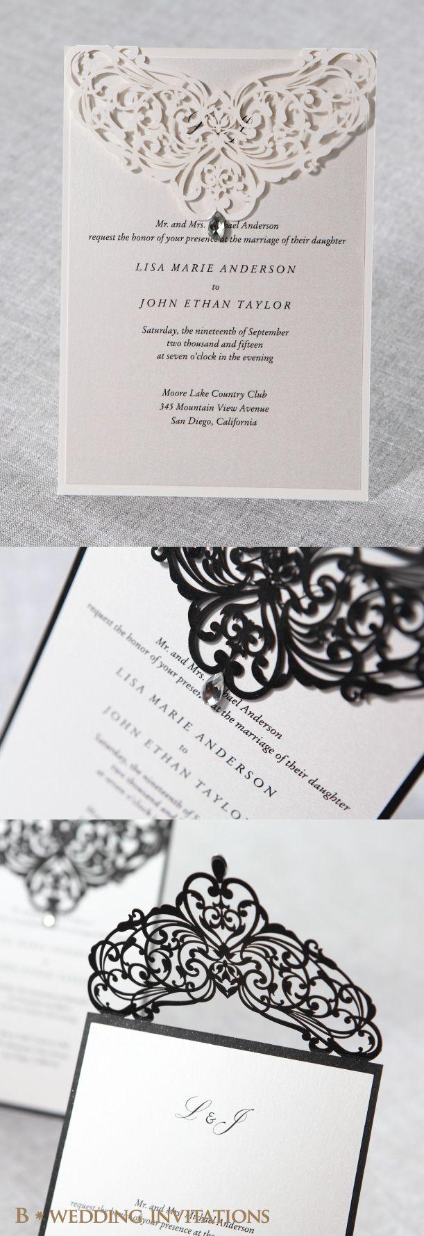 Jeweled Romance Laser Cut by B Wedding Invitations#jeweledinvitation