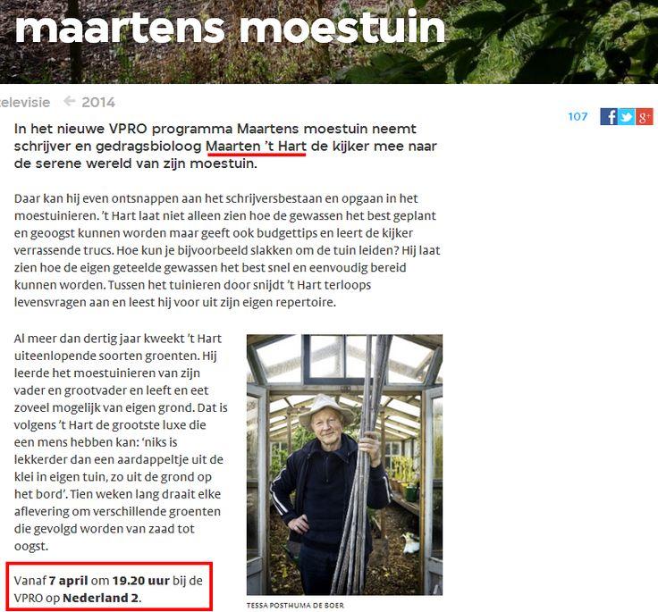 Maarten's Moestuin VPRO moestuintips, tips moestuin, volkstuin stadstuin urban gardening Meer op: http://deboon.blogspot.nl