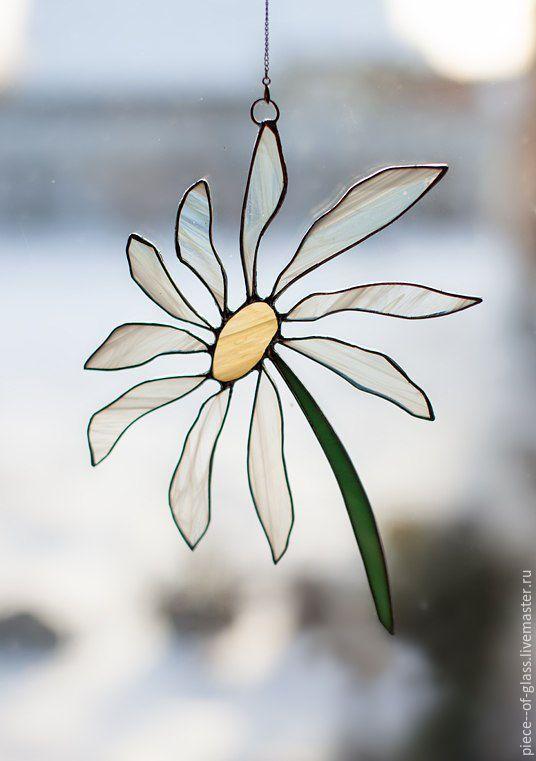 """Купить Подвеска на окно """"Ромашка"""" - комбинированный, Витраж, Витраж Тиффани, витражное стекло, цветок, ромашка"""