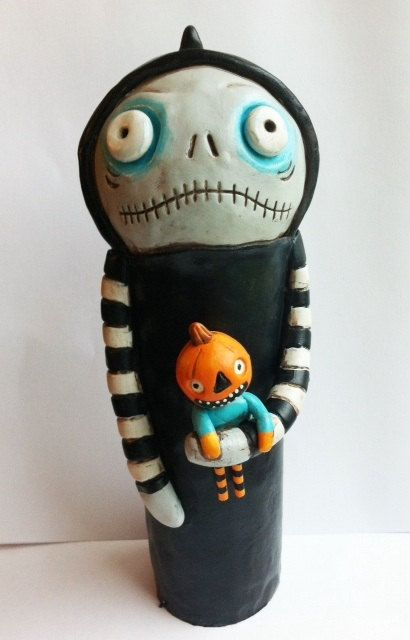 Halloween Hooded Ghoul with Pumpkin Doll by indigotwinholiday, $60.00