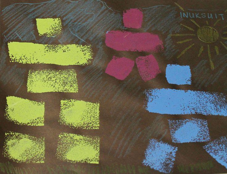 sponge printed inukshuks