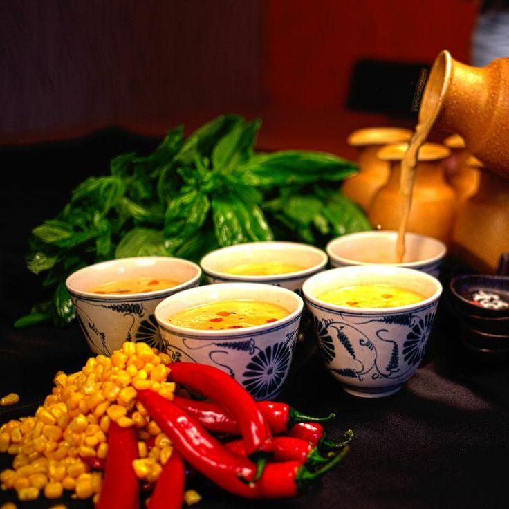 COCONUT CORN SOUP - Chicken, green chilli, basil, yakitori, shiitake..yummy yummy..:)