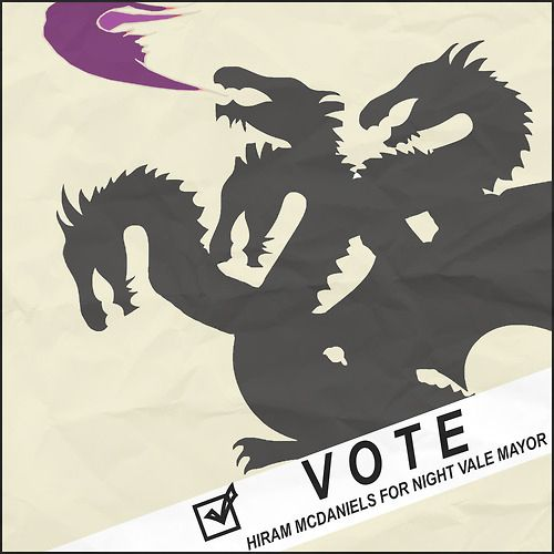 Night Vale Mayor poster!  (It's small minded to hold being a five-headed dragon against him.)