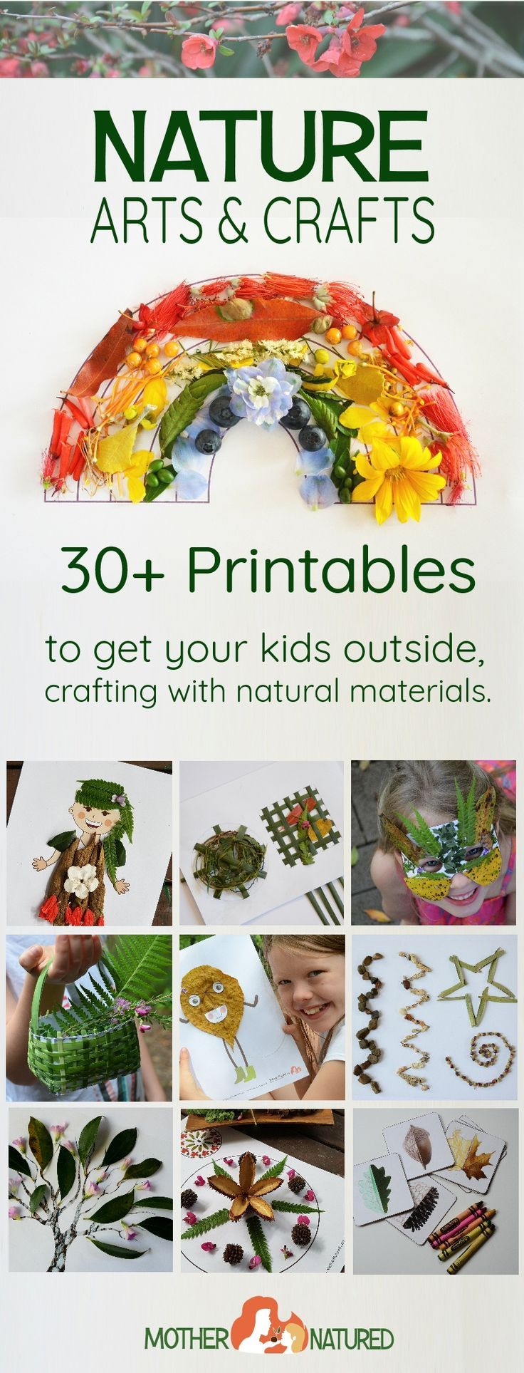 Nature Arts and Crafts printables to get your kids outside and manipulating natural materials. Just add nature!