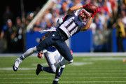 Julian Edelman #11 of the New England Patriots makes a catch against the Buffalo Bills at Ralph Wilson Stadium on September 8, 2013 in Orchard Park, New York.New England won 23-21.