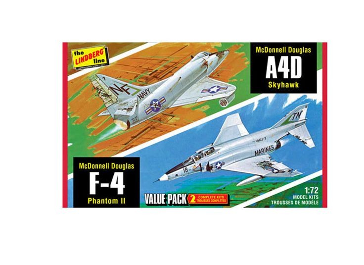 Lindberg 1:72 McDonnell Douglas F-4 Plastic Model Airplane Kit LN433 McDonnell Douglas F-4 Phantom with Douglas Skyhawk Plastic Model Airplane Kit. This model kit made by Lindberg requires assembly and is 1:72 scale. Key US fighters from the Vietnam War, the McDonald Douglas F-4 Phantom and A4D Skyhawk are presented in this two-pack plastic assembly kit from Lindberg. Each 1:72 scale jet features optional detailed battle damage parts, pilot figures and decal marking options. These plastic…