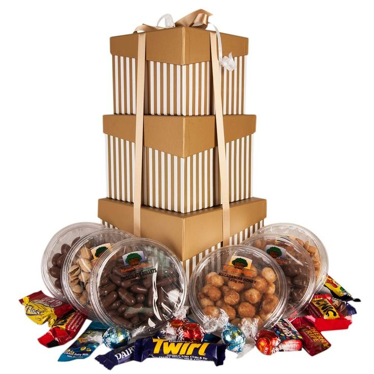 Tower of Treats - Large Box = Honey Macadamias, Salted Cashews, Pistachios Medium Box = Chocolate Almonds, Chocolate Bullets, Fruchocs Small Box = 5 x Lindt Balls + 10 x Pick  Mix Chocolates  This gift comes in 3 beautiful stacked boxes (pink  white, gold  white, black  white, green  white, purple  white  or silver  white) and ribbon.