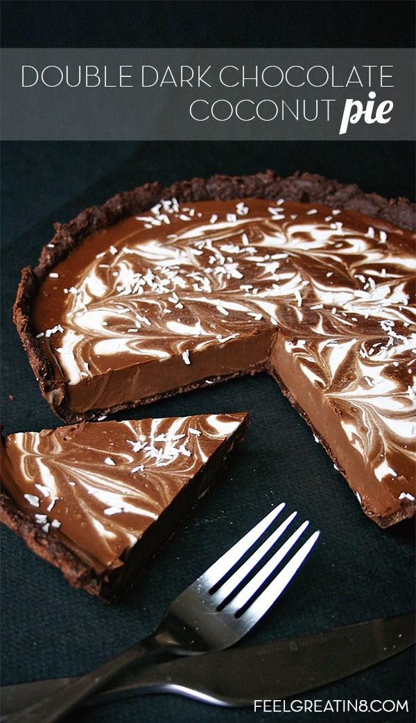 You'd never guess this creamy, chocolaty Double Dark Chocolate Coconut Pie is no bake, gluten free, refined sugar free, and vegan! | Feel Great in 8 - Healthy Real Food Recipes