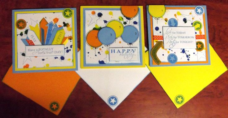 Surprise! cards with envelopes. 15cm x 15cm cards for a celebration.