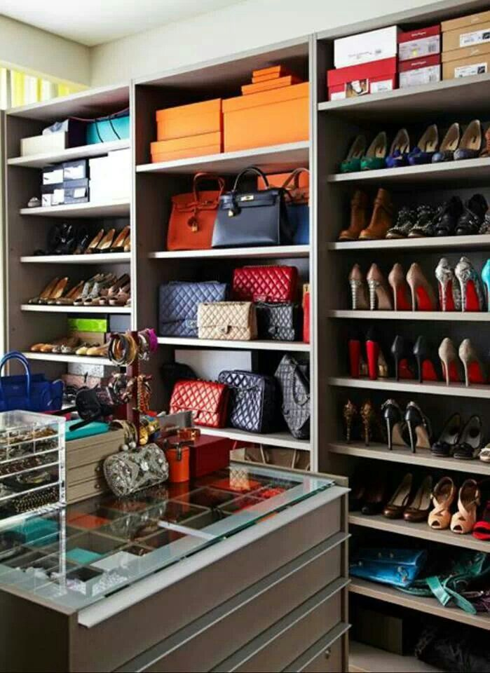 A Closet Full Of Accessories From Head To Toe. Shoe And Bag Storage In Walk  In Closet Dressing Room, Would Be Nice If Trimmed In With Crown Molding.
