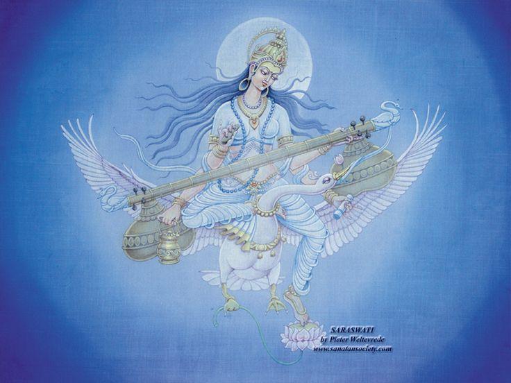 Saraswati, goddess of art, music and literature by Pieter Weltevrede