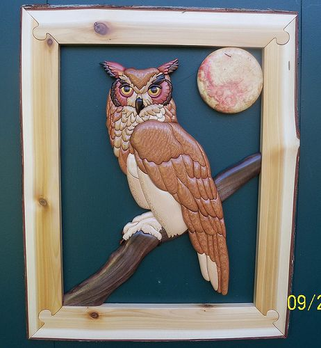 intarsia owl | Flickr - Photo Sharing! REALLY LIKE THE FRAMING