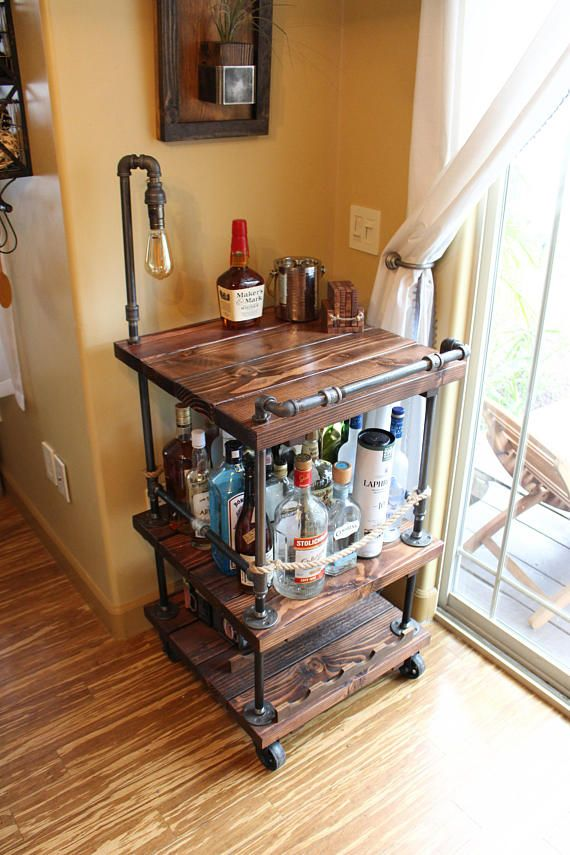Rustic Bar Cart & Light / lamp – Industrial Pipe Wood Bar / Unique Bars / whiskey / wine cart / rollaway / rustic furniture / kitchen Island