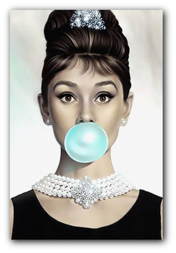 audrey hepburn blue bubblegum canvas art print or poster. Black Bedroom Furniture Sets. Home Design Ideas