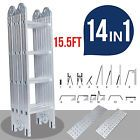 15.5FT Aluminum Multi Purpose Ladder Extension Folding Telescoping Telescopic