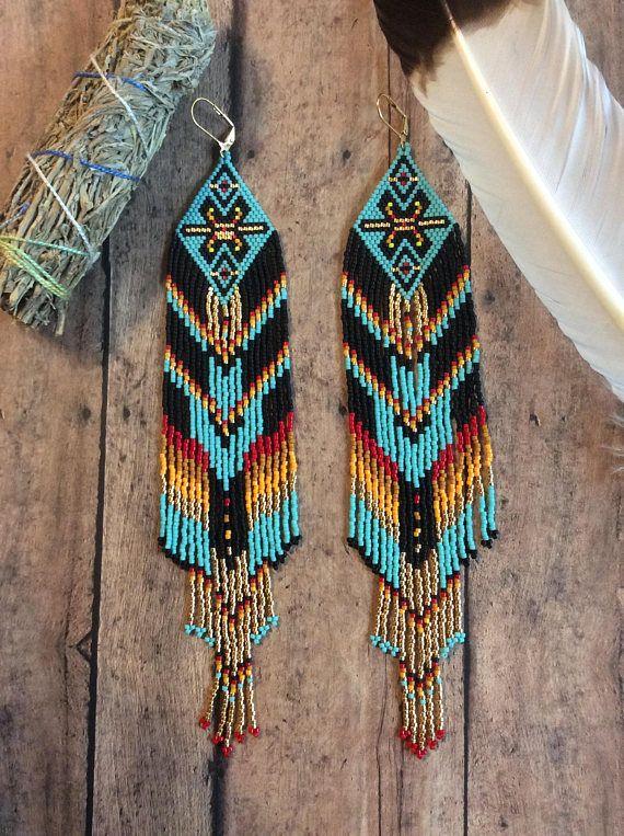 Fractal Seed Bead Earrings OOAK Tribal Gypsy Boho