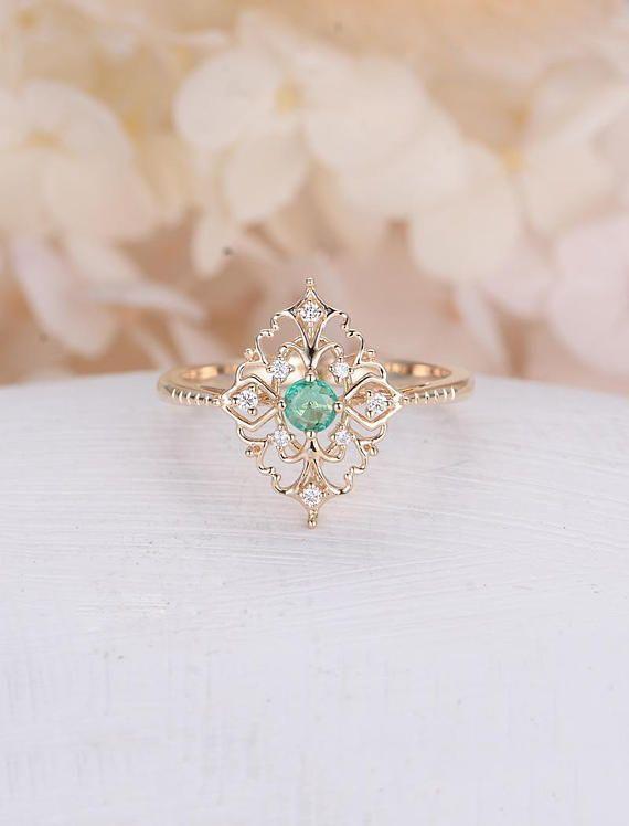 Art-Deco-Verlobungsring Vintage Antik Smaragd Verlobungsring Rose Gold Alternative einzigartige zarte Diamant Hochzeit Frauen Brautschmuck – Schmuck Vintage