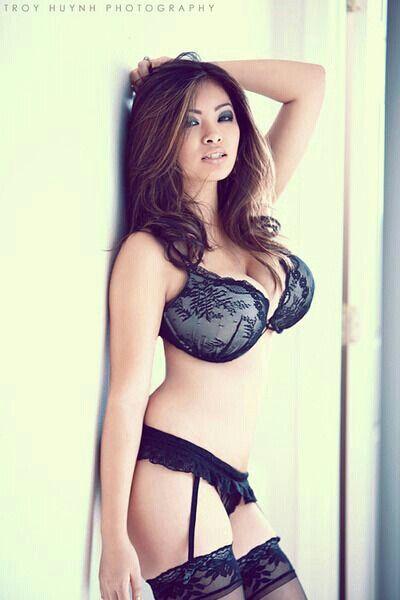 Asian models black bra