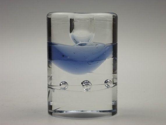 Iittala 'Arktia' glass candle holder by Timo Sarpeneva