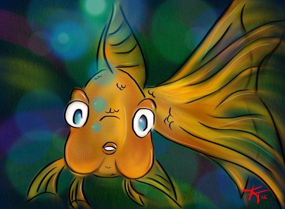 Goldfish Printed on Canvas by RooMagined on Etsy, $24.95: Canvas
