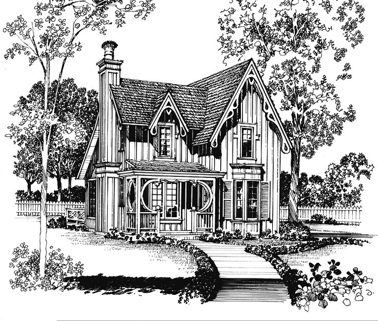 17 best images about vintage house plans on pinterest for Gothic revival house plans