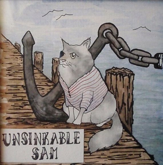 Items similar to Unsinkable Sam the Cat, Original Watercolor Framed. on Etsy