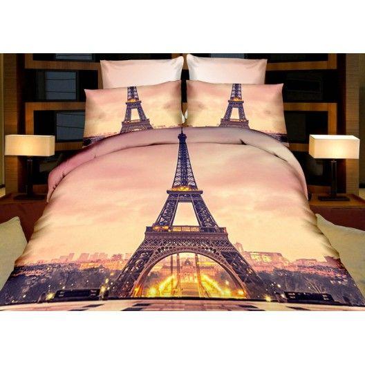 Béžový povlak na postel Eiffelova věž - dumdekorace.cz
