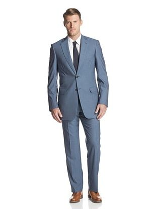 60% OFF Brioni Men's Striped Two Button Suit (Blue)