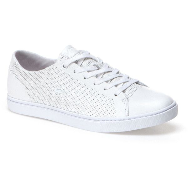 Lacoste Women's Showcourt Leather Sneakers (128,255 KRW) ❤ liked on Polyvore featuring shoes, sneakers, sneakers sneakers, sport shoes, lacoste trainers, tennis trainer, sports shoes and sports trainer