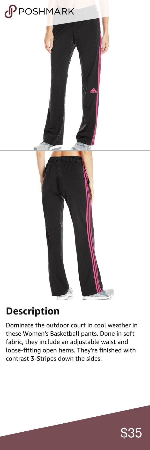 Adidas basketball pants New with tags.   Super cool Adidas basketball pants in black with bright pink stripes.  Featuring adjustable drawstring waist and side pockets.  Super comfy, sporty and chic!  100% polyester.  Smoke free and pet free home. adidas Pants Track Pants & Joggers