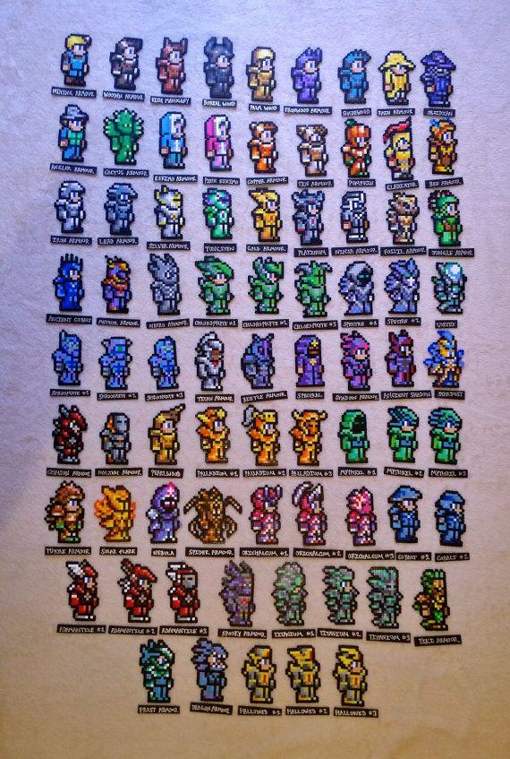 Terraria Armour Perler Magnets Pixel Art Terraria Memes Perler Bead Art