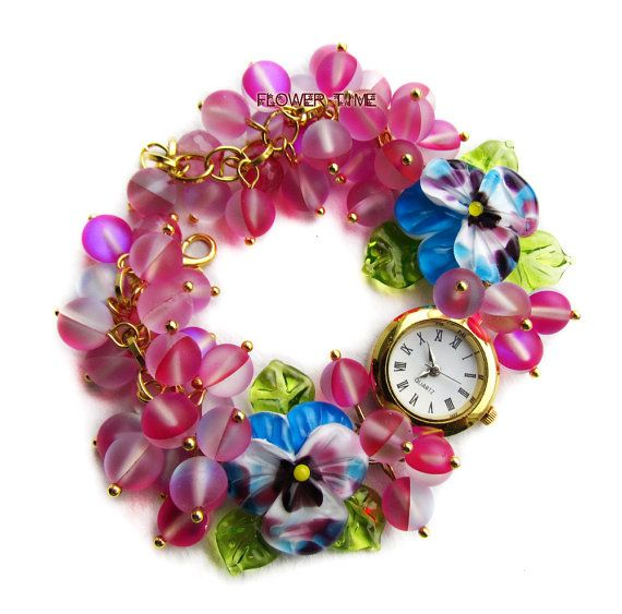 Floral women quartz lampwork wrist watch with от FlowerWatch