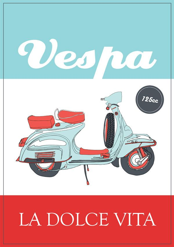 Italian Vespa Poster - Retro Style. £10.00, via Etsy.
