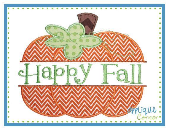 INSTAND DOWNLOAD Split Pumpkin Happy Fall by AppliqueCornerDesign, $4.00