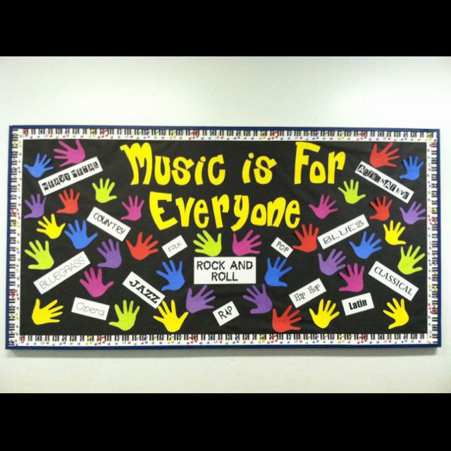 Music bulletin board....this would be a cute beginning of the year hallway board with all the teachers' hands and their favorite song and/or music experience (how many teachers were in band or choir???)