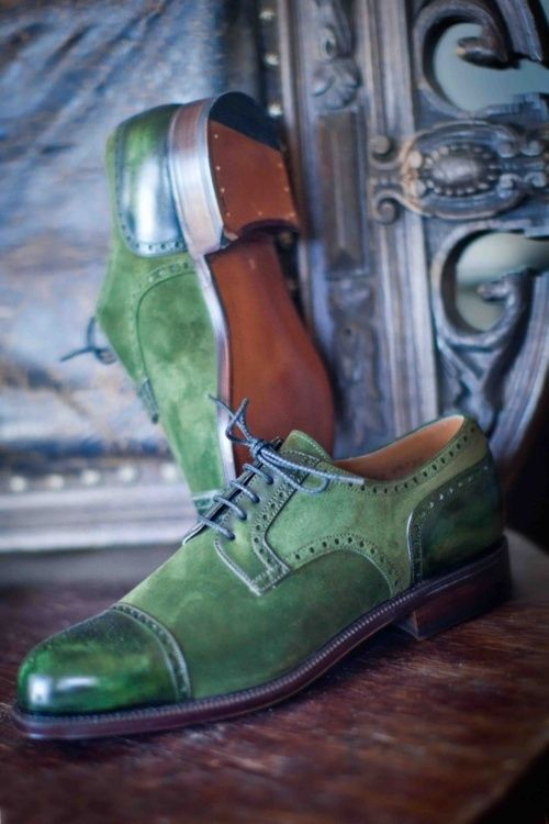 I don't know if I'd be bold enough to wear these often, but the green suede, blue laces, brogue/wing-tip, shiny toe caps are all amazing!